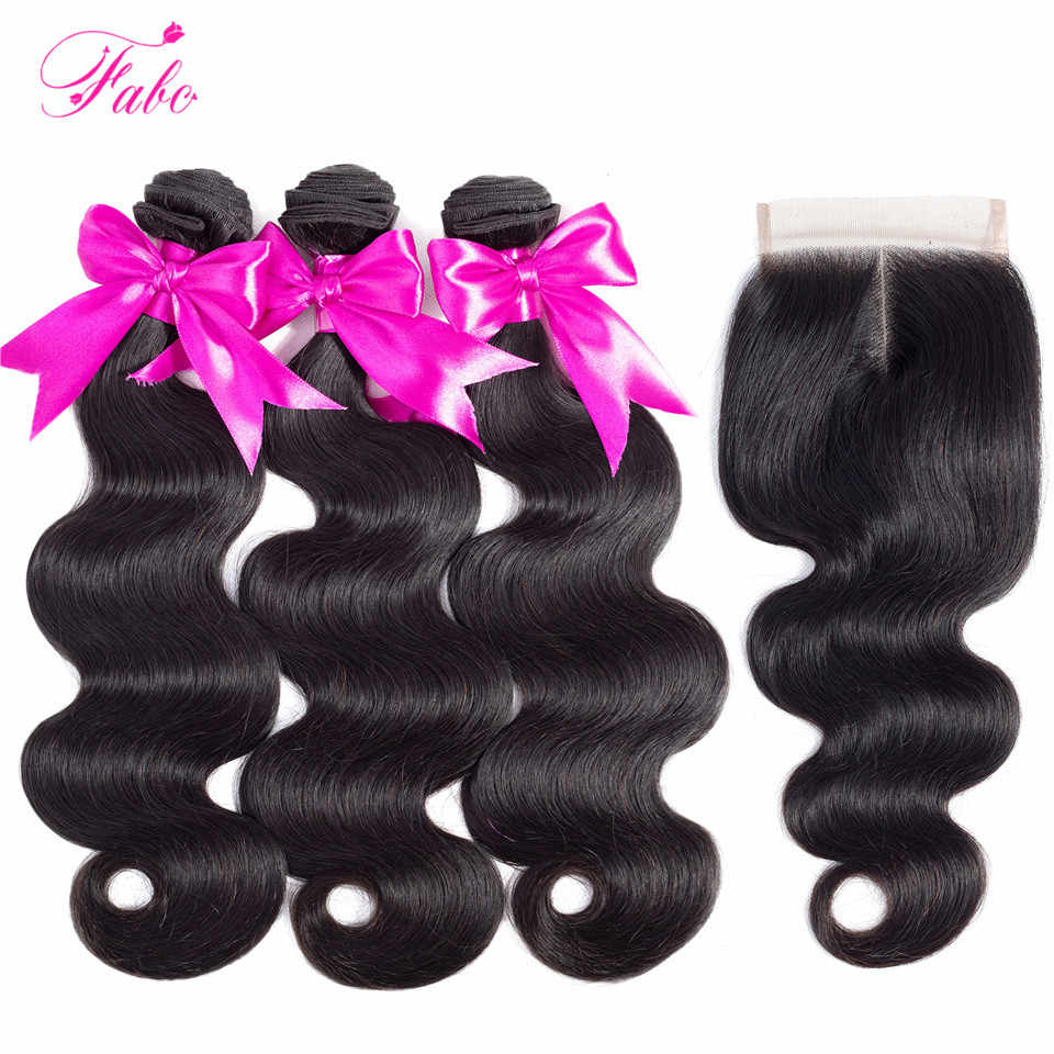 FABC hair brazilian body wave bundles with closure 3 bundles non remy human hair weave bundles with closure natural black