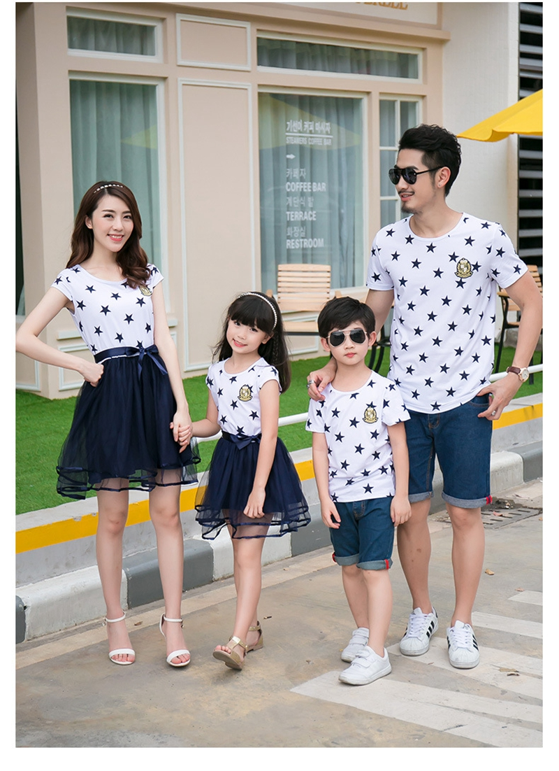 HTB1OIXwah rK1RkHFqDq6yJAFXa2 - Summer Cotton Family Matching Outfits Mom And Daughter Mesh Dress Dad Son Blue White Stars Short T-shirt Children Clothing