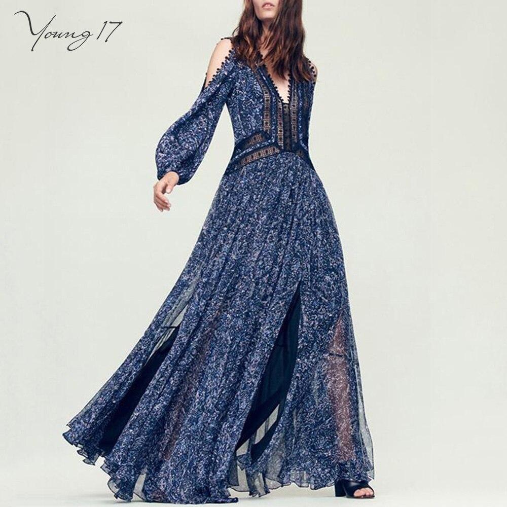 5ee4c44a30f4c Young17 Koyu Mavi Derin V Maxi Kapalı Elbisesi Omuz Uzun Kollu Bölünmüş  Çiçek Kat Uzunluk Elbise Parti Kadın Bahar Yaz elbiseler