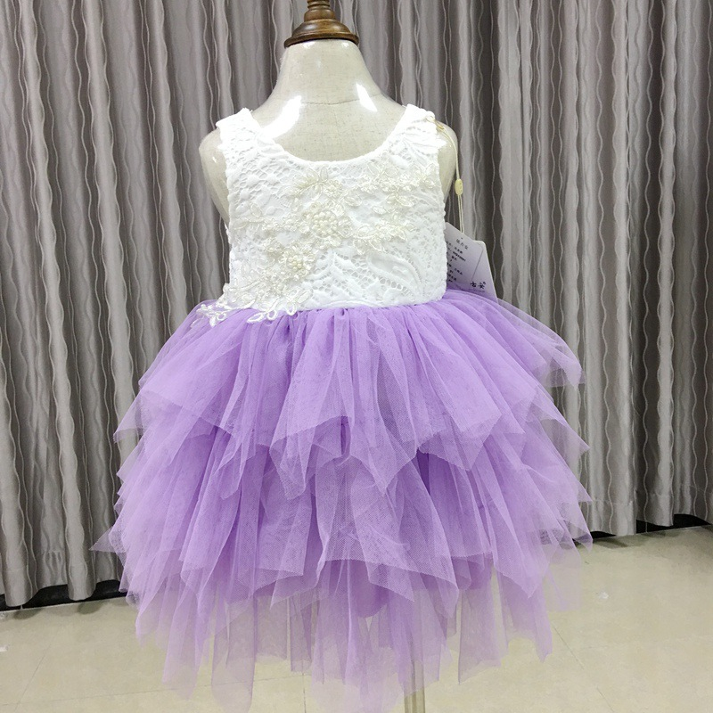 High Quality Kids Dress for Girls Chidren Backless Wedding Lace Dresses Vestidos Baby Girls Birthday Party Dress D0708