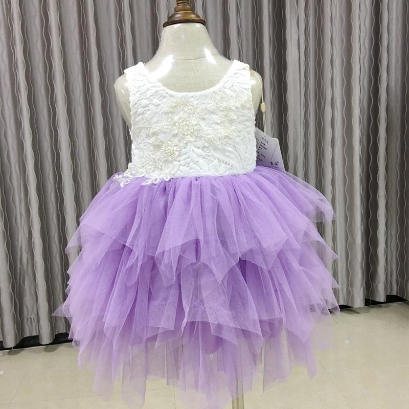 High Quality Kids Dress for Girls Chidren Backless Wedding Lace Dresses Vestidos Baby Girls Birthday Party Dress D0708