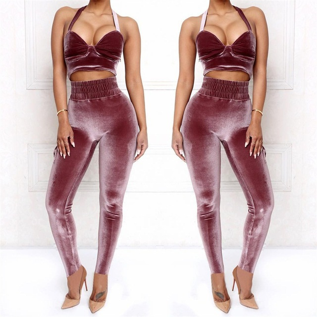 a3c80714da4b KGFIGU Women crop tops and pants sets 2018 Autumn Winter velvet two pieces  outfits sexyLadies 2 pics matching sets high quality