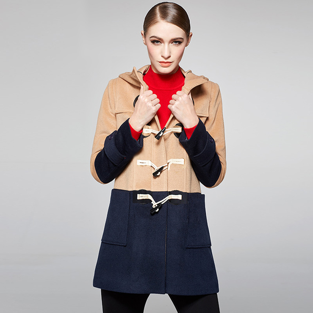 British Style Women Contrast color Duffle Coat Long Woolen Coat ...