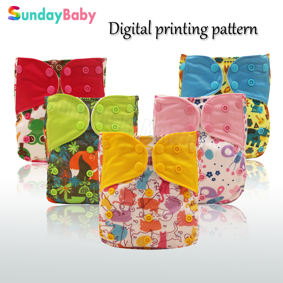 New design baby pocket cloth diaper waterproof printed pattern colored tap adjustable diaper one size fits