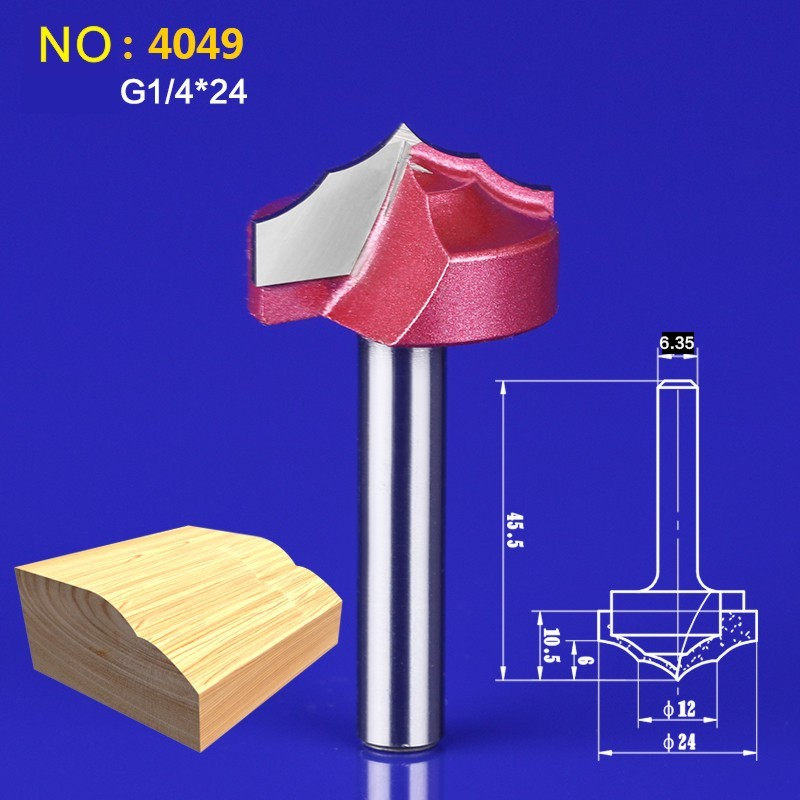 1pcs NO:9120 6.35*24mm Chest/Door wood flat edge trimmer milling cutter Engraving Machine Milling Knife 75mm chrome plated door house flat number no 2