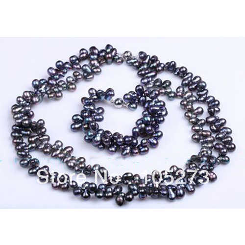 New Free Shipping Natural Pearl Jewelry Set 2Rows Genuine 6-9mm Black Baroque Cultured Freshwater Pearl Necklace Bracelet цена и фото