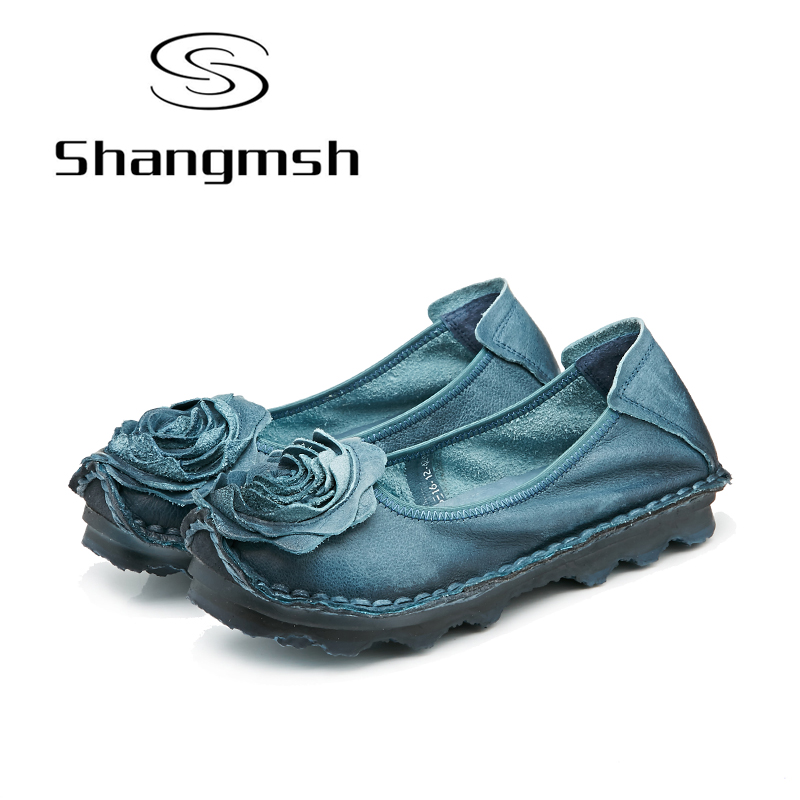 Shangmsh Genuine Leather Women Shoes Flats Slip on Soft Ladies Mom Driving Pregnant Shoe Flower Casual Moccasins Plus Size