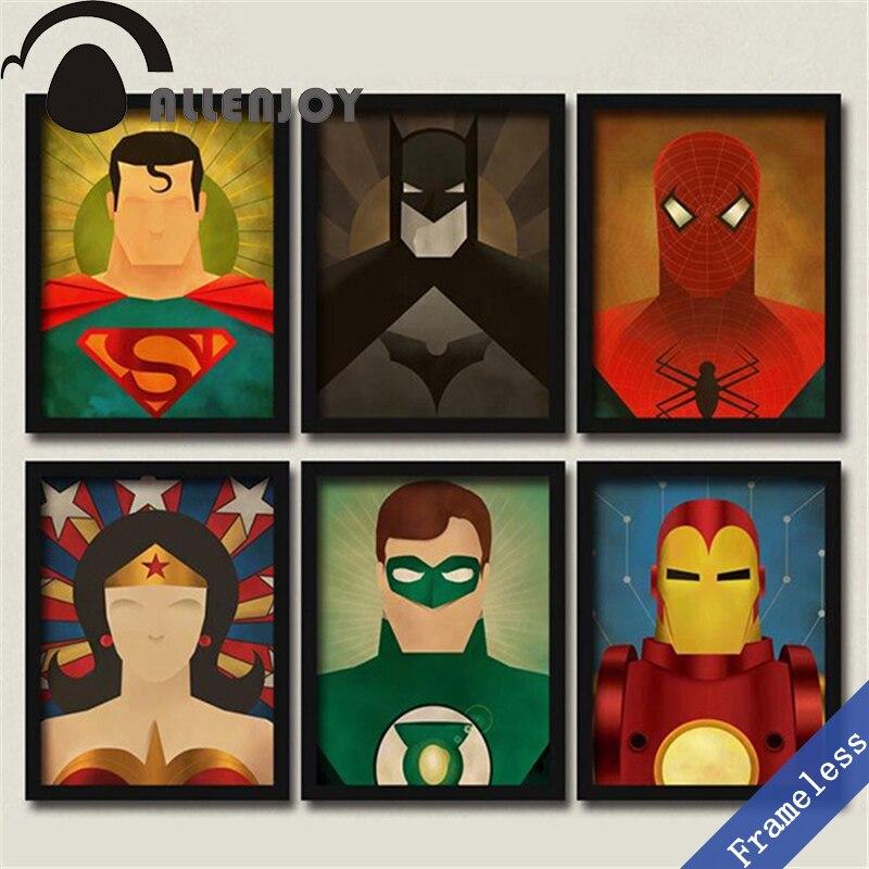 Abstracto de La Vendimia Avengers batman superman Art Print Poster Pared Fotos de la Lona Pintura Al Óleo Decoración Del Hogar de la sala Sin Marco ...