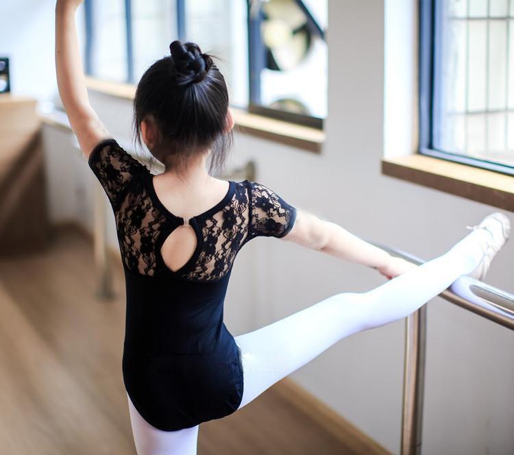 Free shipping 100-160cm black rosy blue lace children lace leotard Latin dance ballet clothing gymnastics