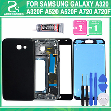 Rear A320 A320F A520 A520F A720 A720F Full Housing For Samsung A3 A5 A7 2017 Galaxy Battery Cover+Middle Frame+Front Glass Lens
