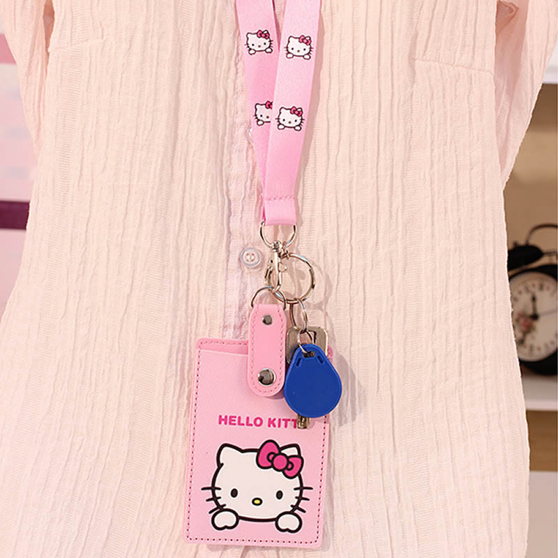 Cartoon Hello Kitty PU Leather lanyard Credit Card ID Holders Bag Women Travel Bank Bus Business Keyring Key Wallet Chain Case 2018 pu leather unisex business card holder wallet bank credit card case id holders women cardholder porte carte card case
