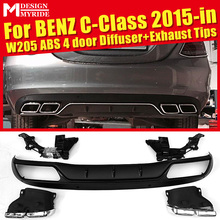 W205 Diffuser+Exhaust Tips For Benz 4 door ABS Rear Bumper Diffuser Lip 4-Outlet Exhaust Endpipe C180 C200 C250 C300 2015+