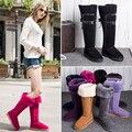 2016 mulheres de inverno de pele de ovelha botas sobre o joelho botas de neve senhoras moda altura crescente sapatos de couro genuíno quente botas