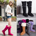 2016 winter women sheep fur boots over the knee ladies snow boots genuine leather  warm fashion height increasing boots