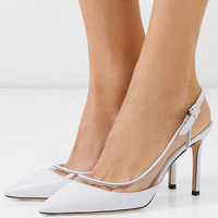 White PVC Slingbacks Ankle Wrap Stilettos Pumps Woman High Thin Heels Buckle Cap Pointed Toe Small Size 3 5 Female Office Shoes