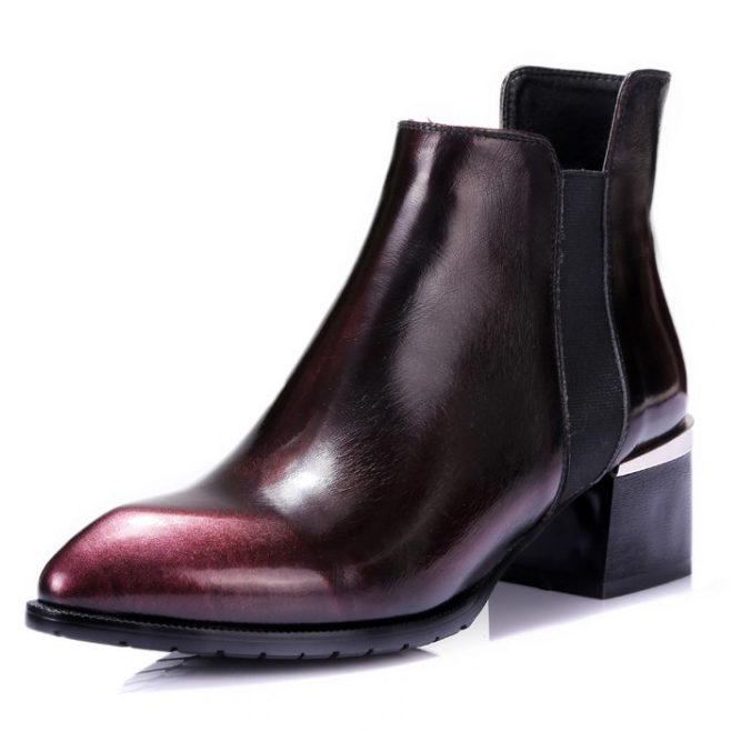 2017 Autumn / winter Fashion Women's Genuine Leather Pointed Toe Ankle boots High Quality Wine red Flats shoes for women