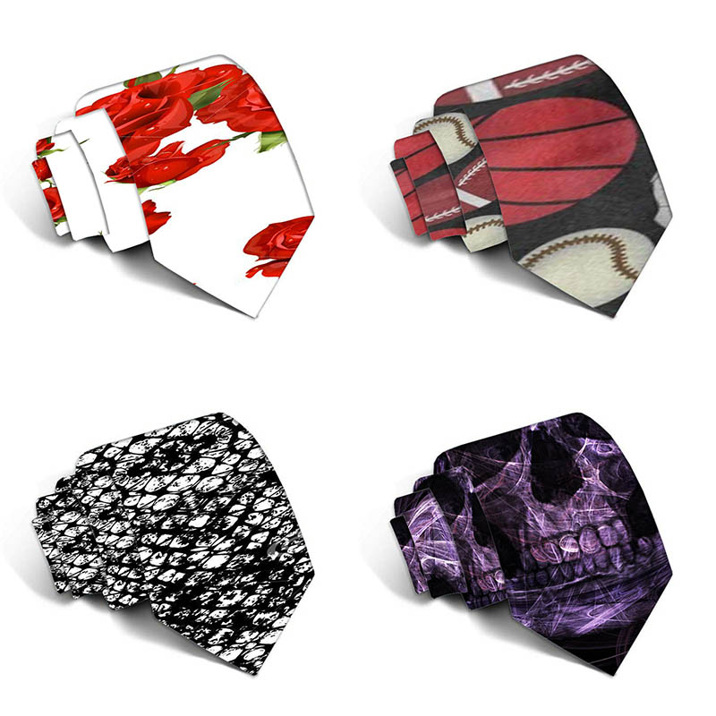 8cm New Fashion Funny Neckties For Men Cartoon Novelty Ties Colorful Printed Neck Ties Wedding Gift Party Accessories 5LD22
