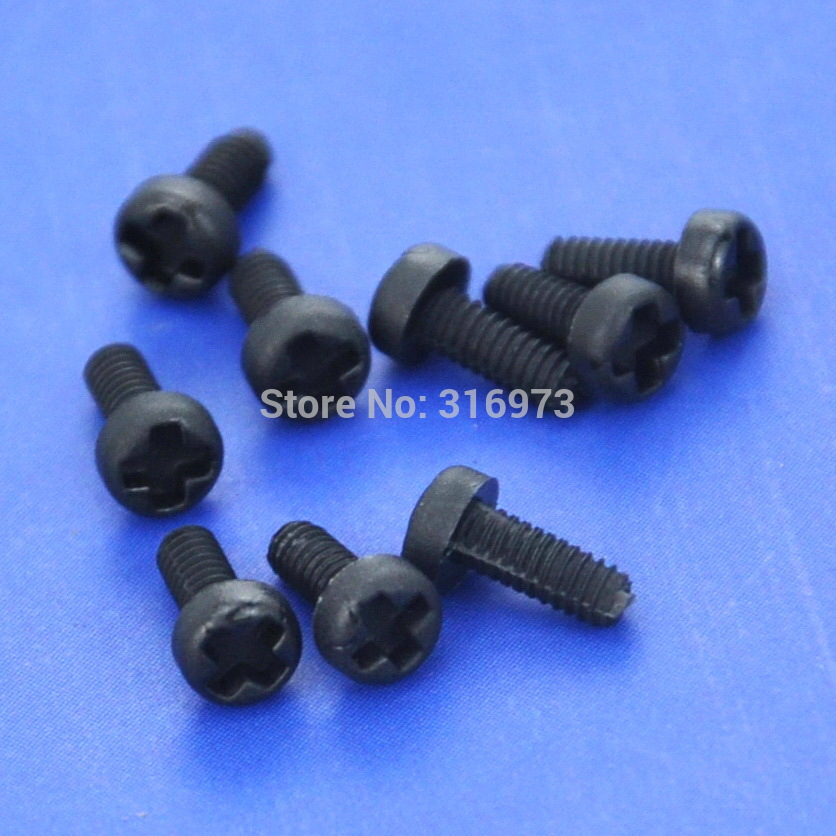 (100 pcs/lot ) <font><b>M2x5mm</b></font> Black Nylon Phillips Pan-Header Screw. image
