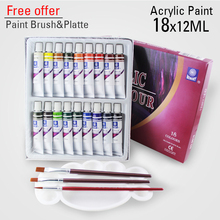 18 Colors 12ML Color Set Acrylic Paint Ceramics Paint Glass Paint Color Glass Drawing Hand Painted Pigments