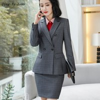 OL Female Formal Skirt Suits for Women Business Suits Khaki Gray Plaid Blazer Jacket Sets with Skirts Ladies Work Wear Uniforms