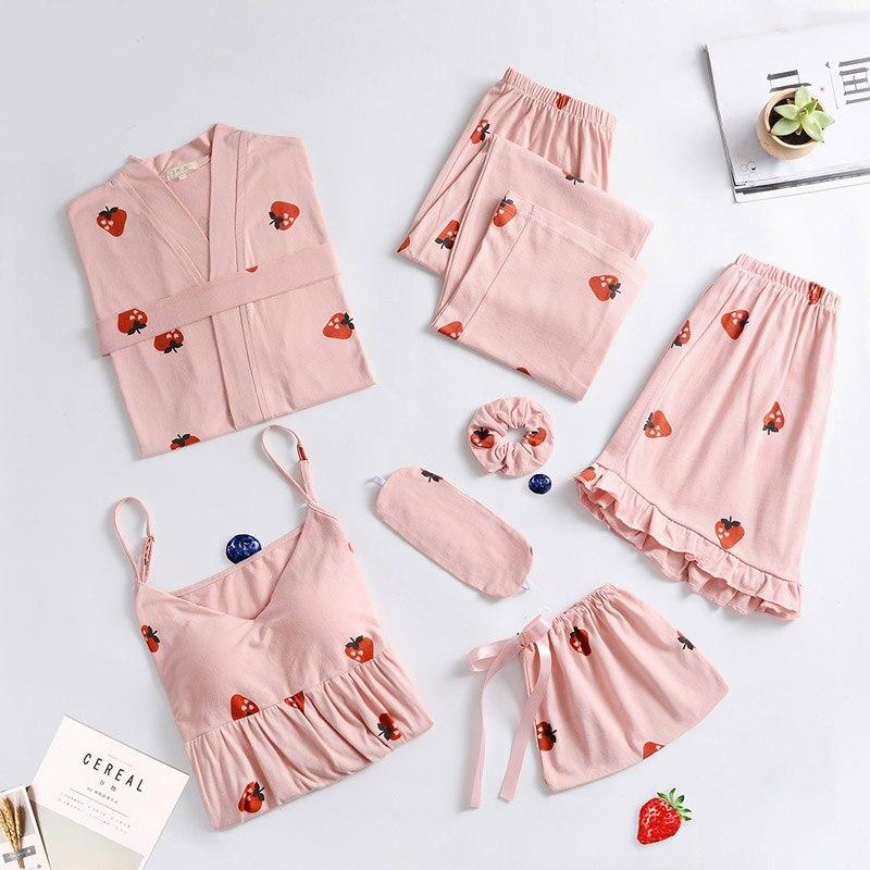Women Pajamas 7 Sets Cotton Sleepwear Pijama Ladies Home Wear Home Clothing Chest Pads Spaghetti Strap Sleep Lounge Summer