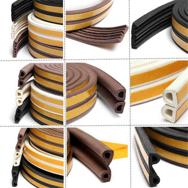 5meter D E P Type Seal Strips Foam Draught Excluder Self Adhesive Window Door Seal Strip For Hardware Tools