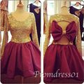 New Homecoming Dresses Crew Bling Bling Gold Sequins Big Bowknot Cut Out Back Wine Red Short Cocktail Dresses 2015