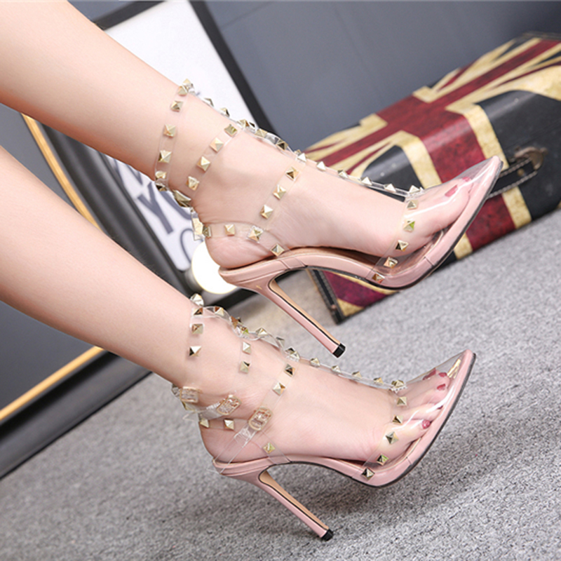 2019 Fashion Women Rivets 11cm High Heels Shoe Ladies Pointed Toe Stiletto Valentine Sandals Gladiator Woman Party Studded Shoes