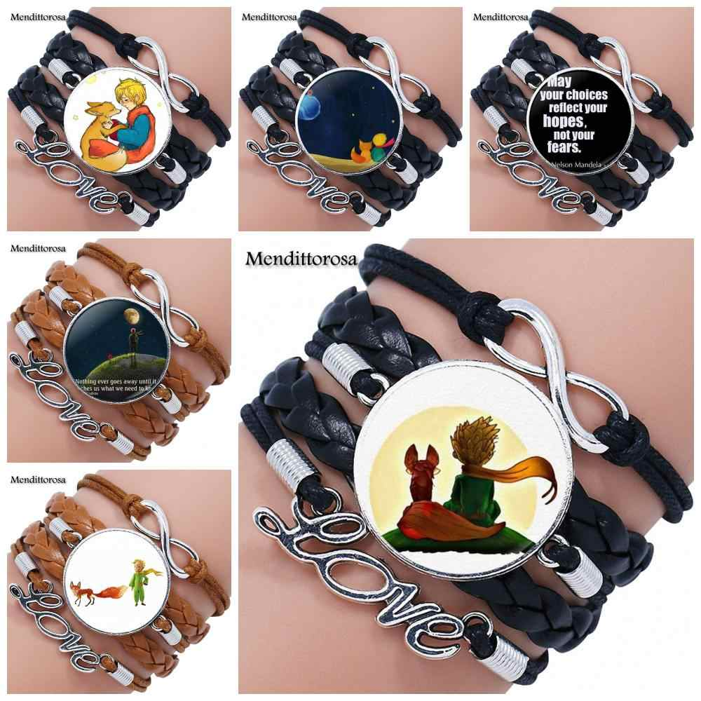 The Little Prince Logo Multilayer Black/Brown Leather Bracelet Bangle Glass Cabochon Jewelry For Women Kids Gift