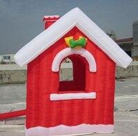 Индивидуальные Рождество Надувные Санта cluas красный дом для двор украшения рекламы с воздуха Воздуходувы