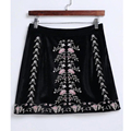 2017 new Spring Fashion High Waist Mini ethnic skirt velvet Women A Line Female Embroidety floral short retro elegant skirt