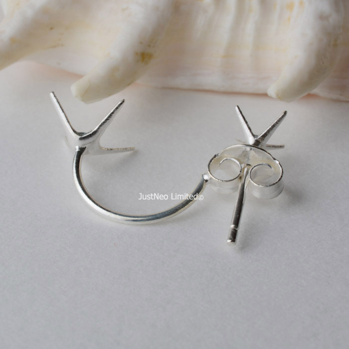 solid 925 sterling silver earring wire hooks and posts with prongs ...
