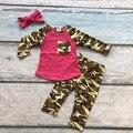 Otoño/invierno boutique hot pink ropa de algodón desgaste de los niños bolsillo del pantalón de camuflaje trajes de los bebés accesorios arco a juego