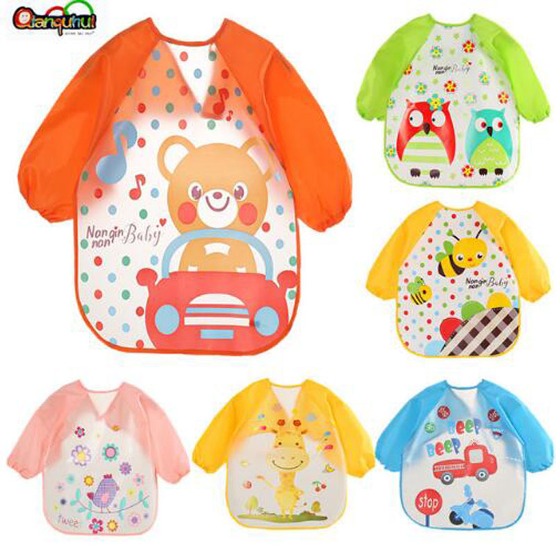 Cute Baby Bibs Waterproof Long Sleeve Apron Children Feeding Smock Bib Burp Clothes Soft Eat Toddler Baberos Bavoir Clothing цена