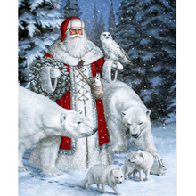 Megayouput 5d diy diamond painting cross stitch Santa Claus and the bear  owl embroidery Scenery mosaic pattern gift