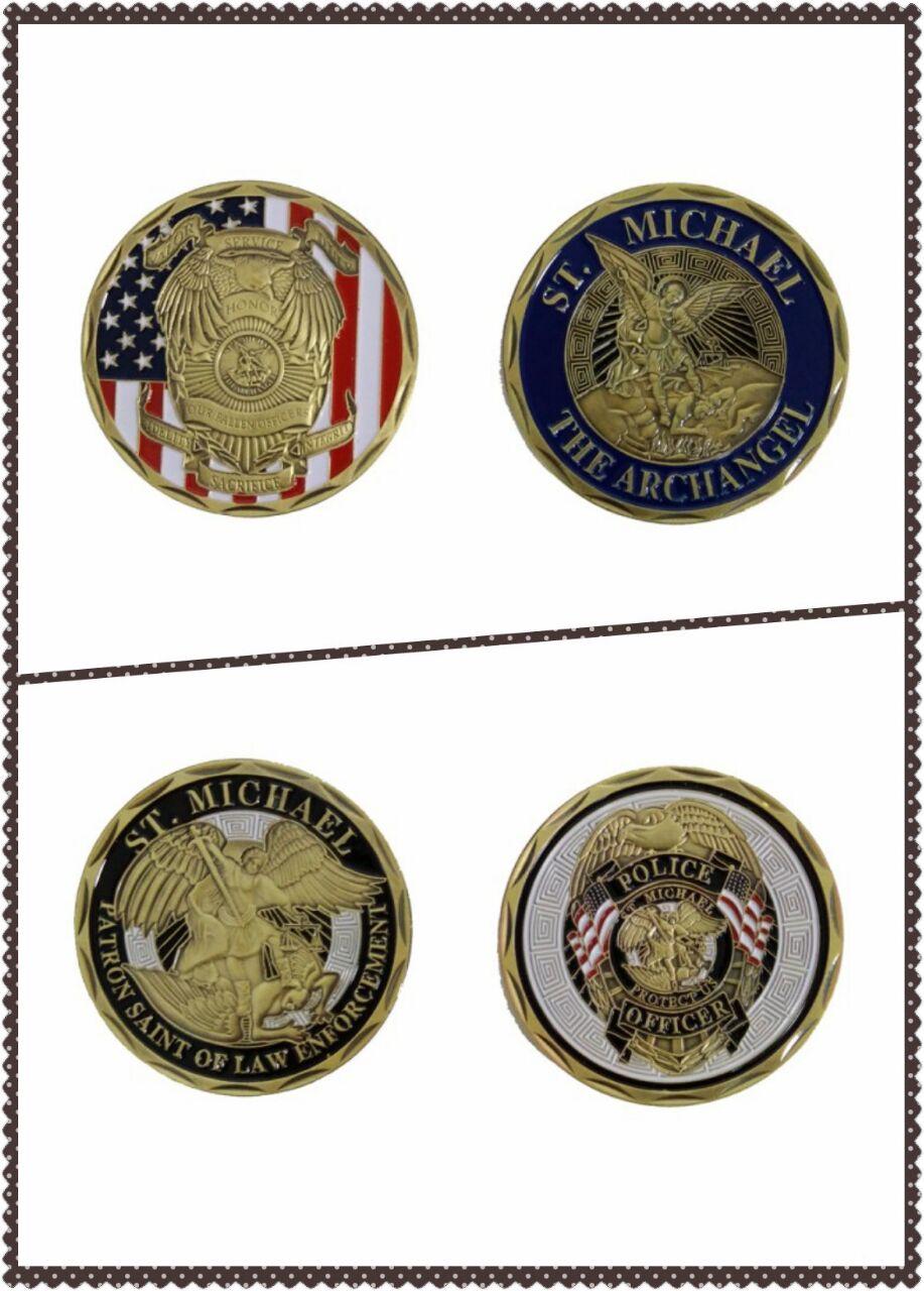 10ks / lot americký falg St Michael archandělský důstojník a zákon Vynucování Policejní důstojník bronzové suvenýr výzva mince sběratelské