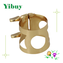 Yibuy Gold Color Metal Tenor Saxophone Ligature With Double Screws Adjust