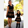 Fashion Family Set Above Knee Leopard Mother Daughter Dress Mom and Daughter Dresses Clothes Family Clothing Summer WT01