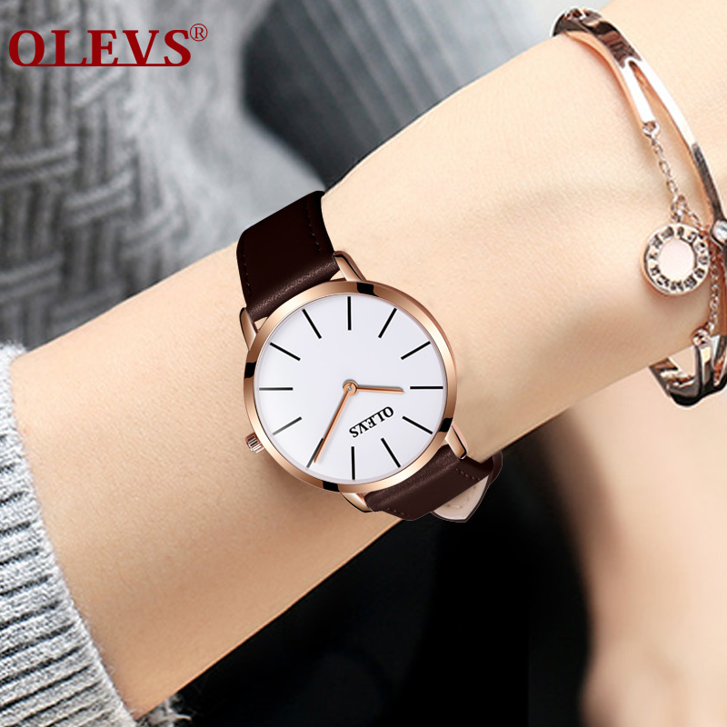 OLEVS Watch Women Leather Mens Watches Top Brand Women Watches Luxury High quality Quartz Waterproof Ultra thin Couple Clock NEW