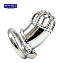FRRK Male Chastity Devices Stainless Steel Cock Cage For Men Metal Chastity Belt Penis Ring Sex Toys Cock Lock Adult products stainless steel small male chastity belt adult cock cage with arc shaped cock ring sex toys for men chastity device