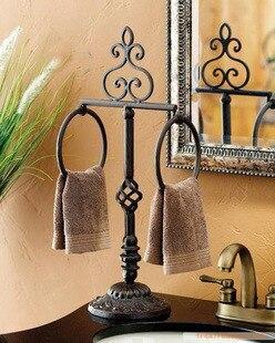 Freeshipping Bathroom Shelf Wrought Iron Towel Rack Landing Single Pole Bar Double