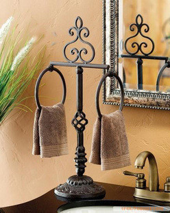 Freeshipping Bathroom Shelf Wrought Iron Towel Rack Landing Single Pole Bar Double