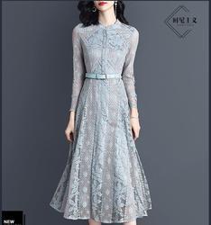 2019 lente jurk nieuwe hoge taille MIDI jurk temperament dame kanten jurk