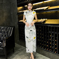 2016 Summer Women Traditional Chinese Style Floral Print Qipao Long Silk Banquet Party Dress CHEONGSAM