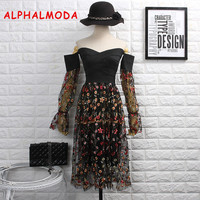 ALPHALMODA New Sexy Beautiful Strapless Bandage Lace Dress Women Lantern Long sleeved Slim Fit Embroidered Party Vestido