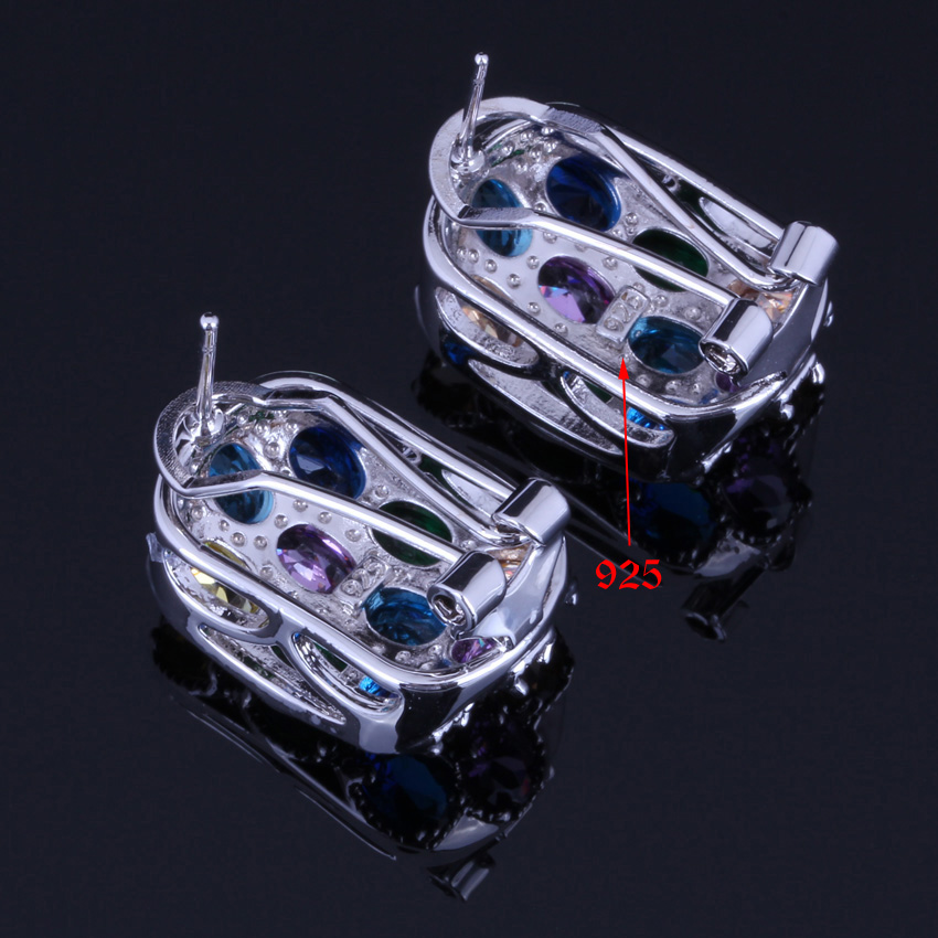 Astonishing Multigem Multicolor Cubic Zirconia 925 Sterling Silver Jewelry Sets For Women Earrings Pendant Chain Ring V0249 in Jewelry Sets from Jewelry Accessories