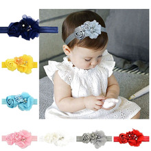 new chiffon hand-stitched flower DIY headband with hair band girl party accessories