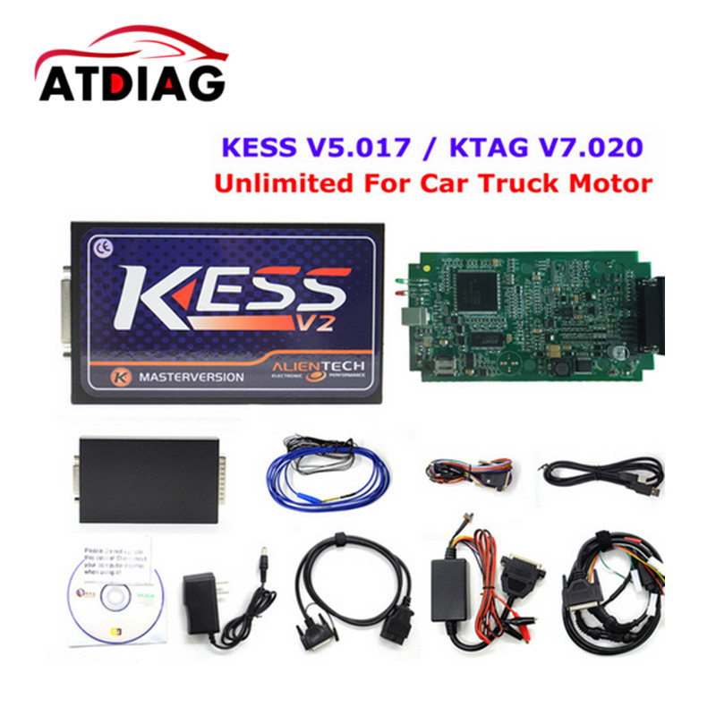 Newest KESS V5.017 V2.23 No Token Limited FW V5.017 support Car/truck/Tractor/Bike ECU programming tool Kess V2 ECU KESS 5.017 new version v2 13 ktag k tag firmware v6 070 ecu programming tool with unlimited token scanner for car diagnosis