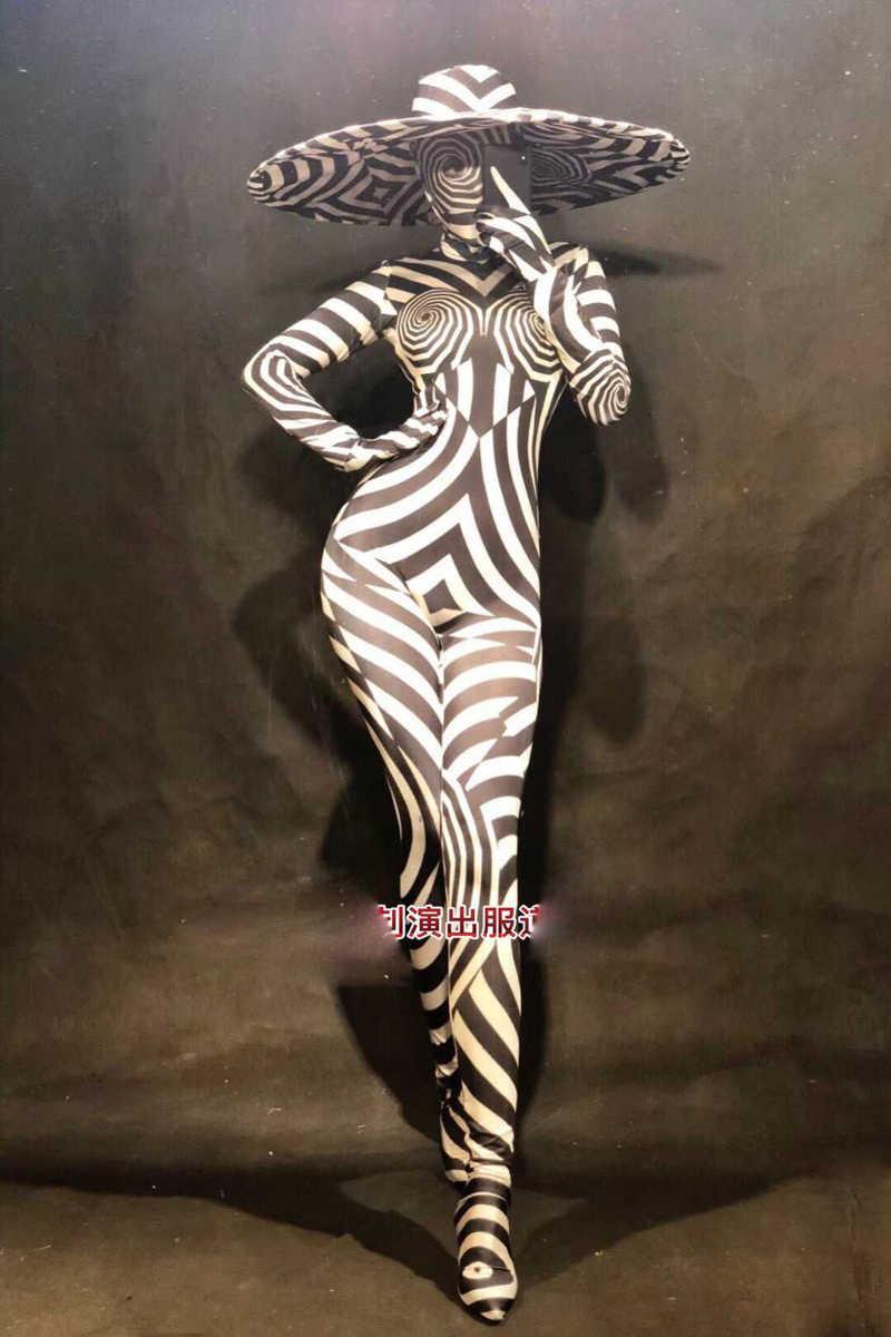 Сексуальные костюмы зебры, большие шляпы, зеленый, красный, черный, Комбинезоны для ночного клуба, вечеринки, косплей, костюм для сцены, шоу, танцевальная одежда