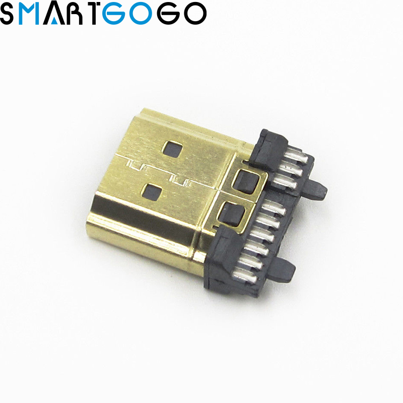 2 PCS DIY HDMI Connector Male Gold Plate 19 Pin Plug Wire Solder2 PCS DIY HDMI Connector Male Gold Plate 19 Pin Plug Wire Solder